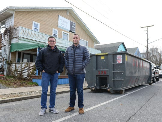 Bob Suppies and co-owner Tyler Townsend stand outside their new restaurant The Pines located in Rehoboth Beach and to open in the spring of 2018. Tuesday, Feb. 13, 2018.