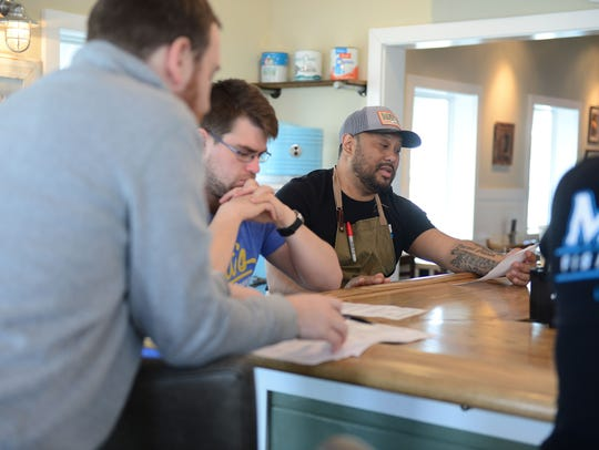 "Matt's Fish Camp Executive Chef Maurice Catlett talks about the menu items that are going to be featured during the daily ""preshift meeting"" on Tuesday, Feb. 13, 2018 at Matt's Fish Camp located in Lewes, Del."