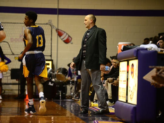 Crisfield's Coach David Arnold during the MPSSAA 1A East Playoffs against Pocomoke on  Monday, Feb. 27, 2018 in Crisfield, Md.