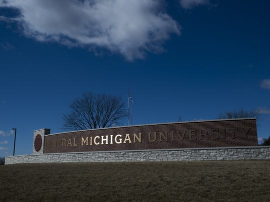 The Central Michigan University sign, seen on March 2, 2018, in Mount Pleasant, Michigan.