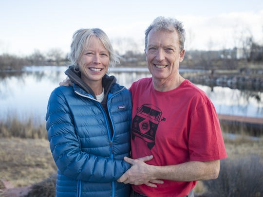 Jeff Lebesch, New Belgium Brewing co-founder, and Zia Zybko pose for a photo at their home in Fort Collins on Tuesday, February 6, 2018.