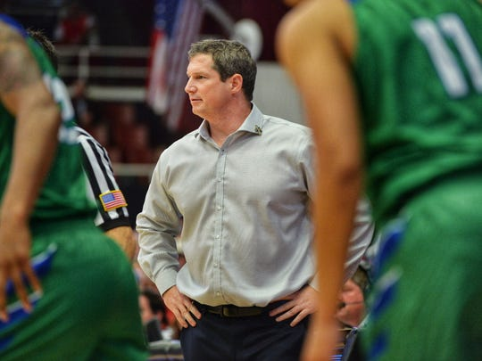 Florida Gulf Coast University Head Coach Karl Smesko watches his team during the second round against the Stanford Cardinal in the 2018 NCAA Division 1 Women's Basketball Championship at Maples Pavilion at Stanford University on Monday, March 19, 2018.