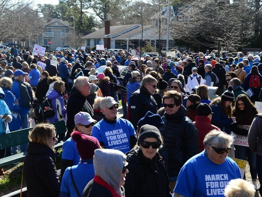 Crowds gather at the community park on Stockley Street, in solidarity with the 760 nationwide sister events as part of March for Our Lives.
