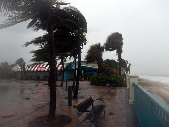 The wind ripped through Sexton Plaza on Sunday, Sept. 10, 2017, as Hurricane Irma approached the Treasure Coast.