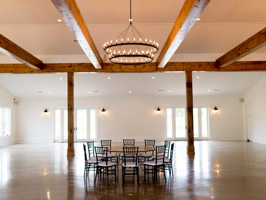 The old machine shed has been converted into an event hall at Marblegate Farm in Friendsville, Tenn.