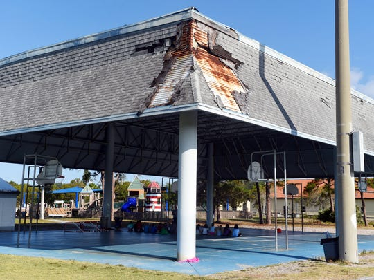 Damage to the covering of the outdoor basketball courts