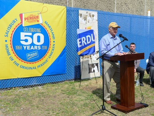 Jim Perdue speaks during the 50th Anniversary celebration of the Perdue brand at the Salisbury processing plant on Friday, April 13, 2018 at the Willow Street processing plant.
