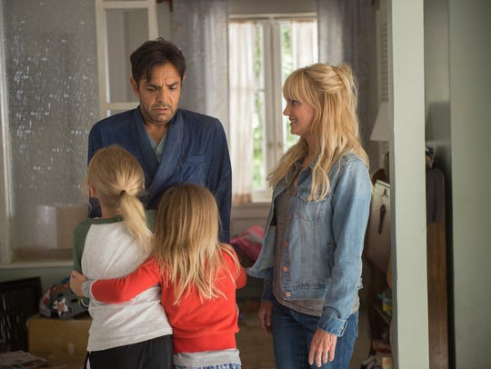 "Eugenio Derbez plays a spoiled rich man who, after losing his memory to a bump on the head, gets a surprise when he meets his ""wife"" (Anna Faris) and ""family"" in ""Overboard."""