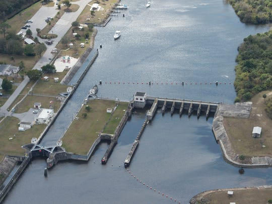 The St. Lucie Lock and Dam as seen from the air Feb.