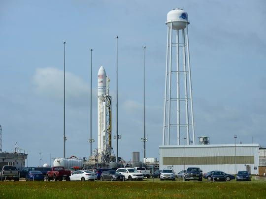 The Antares rocket sits on the MARS Pad OA awaiting