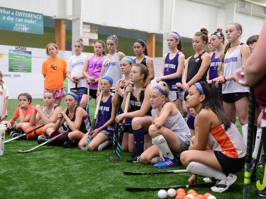 Duke University Field Hockey Assistant Coaches Ralph Boersma and Wesley Drew help the ShoreByrds Field Hockey team with drills and instruction on Friday, May 18, 2018. at Crown Sports in Fruitland, Md.
