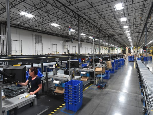 Packages are stacked inside the Zulily fulfillment center east of Reno-Sparks.