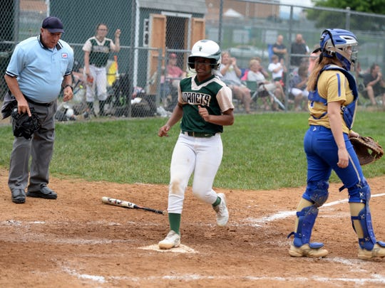 Jaya Diggs-Hagwood scores the game-winning run for Wilson Memorial Monday in a Region 2B softball quarterfinal. Wilson beat Central Woodstock 2-1.