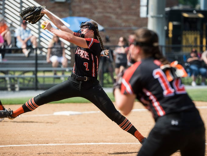 Central York's Courtney Coppersmith pitches to Warwick