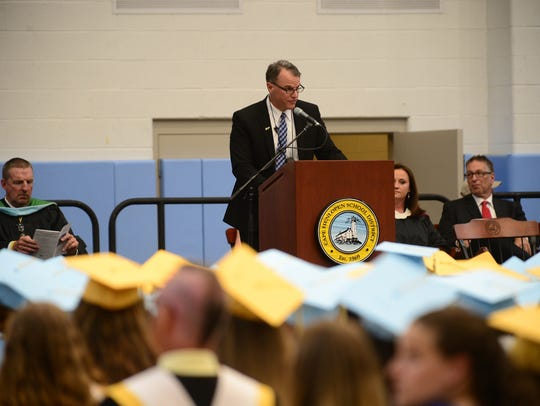Cape Henlopen School District Superintendent Robert Fulton speaks during graduation on Tuesday, June 5, 2018, in Lewes.
