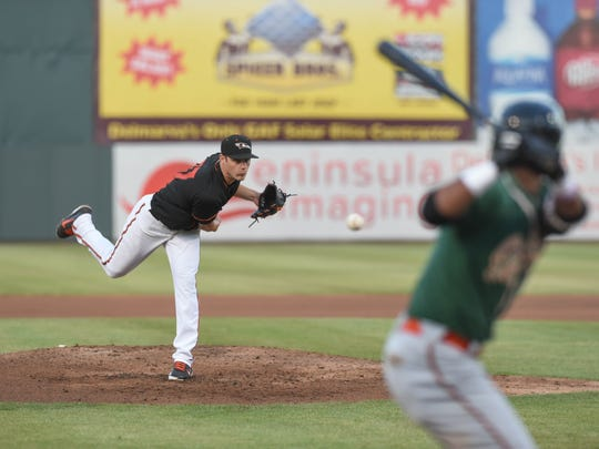 Delmarva Shorebirds' Pitcher Brenan Hanifee against the Greensboro Grasshoppers on Wednesday, June 6, 2018.