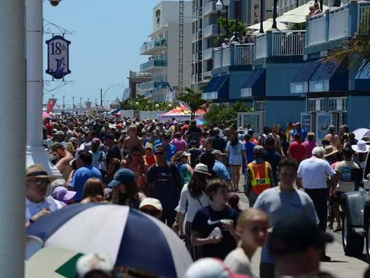 Crowds pack the boardwalk during the 2018 Ocean City