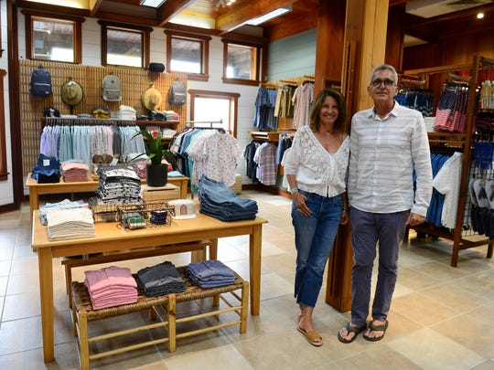 Patricia Darrow Smith, CCO and Michael Smith, CEO pose for a photo inside of South Moon Under on 80th Street in Ocean City. The brand is celebrating their 50th Anniversary.