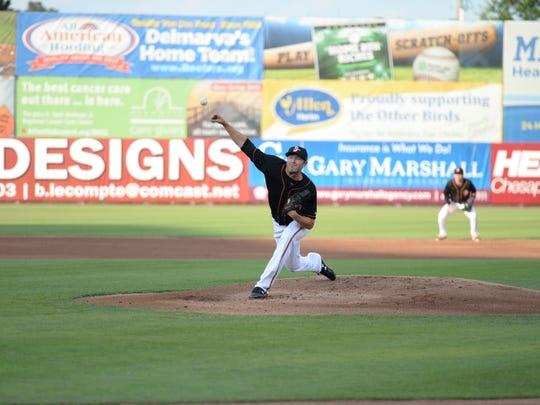 Chris Tillman throws a pitch in the Delmarva Shorebirds