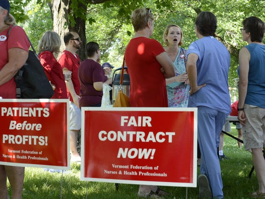 UVM Medical Center nurses gathered Monday, July 2, 2018 to announce they plan to strike on July 12, 2018