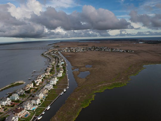 Manteo on Roanoke Island is shown in this aerial view of the Outer Banks in North Carolina, on June 12, 2014.
