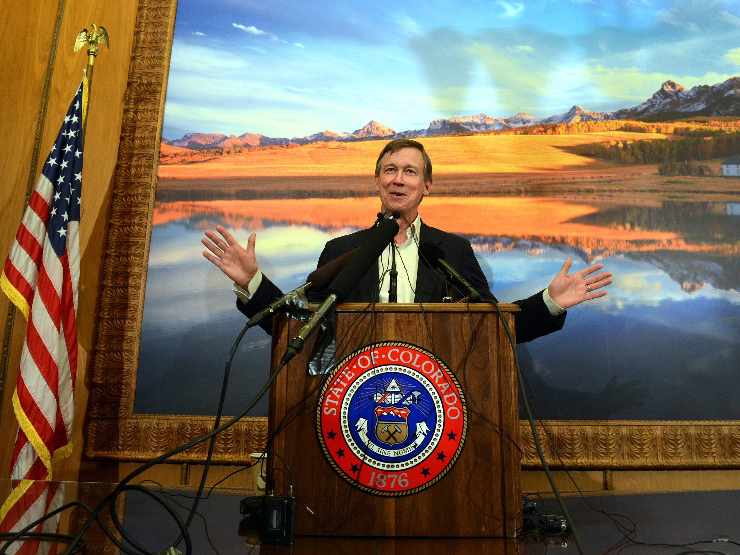Gov. John Hickenlooper talks about Amendment 64 at the State Capitol in Denver, Monday, Dec. 10, 2012. Marijuana for recreational use became legal in Colorado Monday, when Hickenlooper took a purposely low-key procedural step of declaring the voter-approved change part of the state constitution.