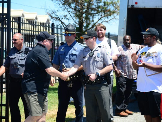 Governor Larry Hogan greats the City of Crisfield police