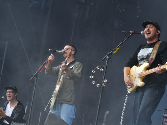 Eric Howk, left, John Gourley and Jason Wade Sechrist of Portugal. The Man.