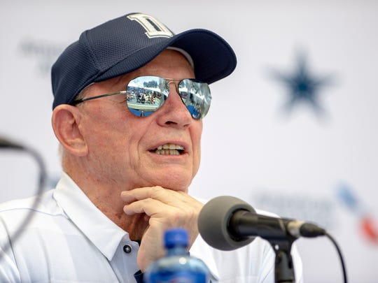 """Dallas Cowboys owner Jerry Jones takes questions from the press during the """"state of the team"""" press conference at the start of Dallas Cowboys' NFL training camp, Wednesday, July 25, 2018, in Oxnard, Calif. (AP Photo/Gus Ruelas)"""