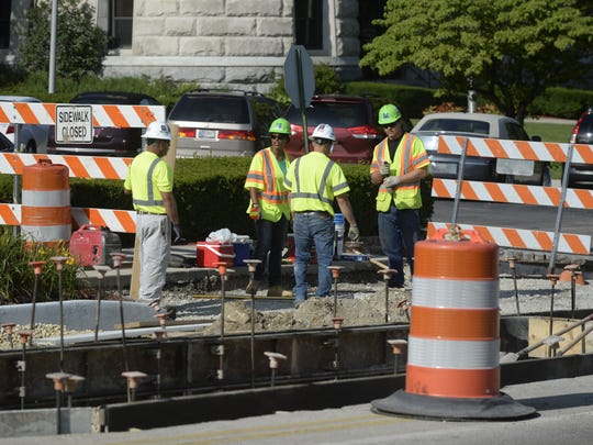 Work continues along East Main Street between Fourth