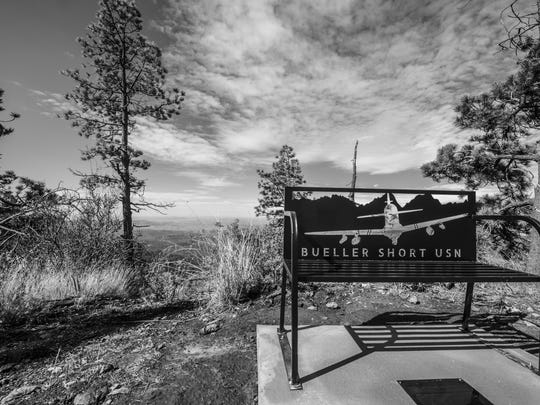 "In memory of Lt. Christopher ""Bueller"" Short, U.S. Navy pilot, a bench was placed at the end of the Rim Trail in the Tularosa Basin, N.M., July 13, 2018. Short lost his life when an A-29 Super Tucano crashed over the Red Rio Bombing Range, June 22, 2018."