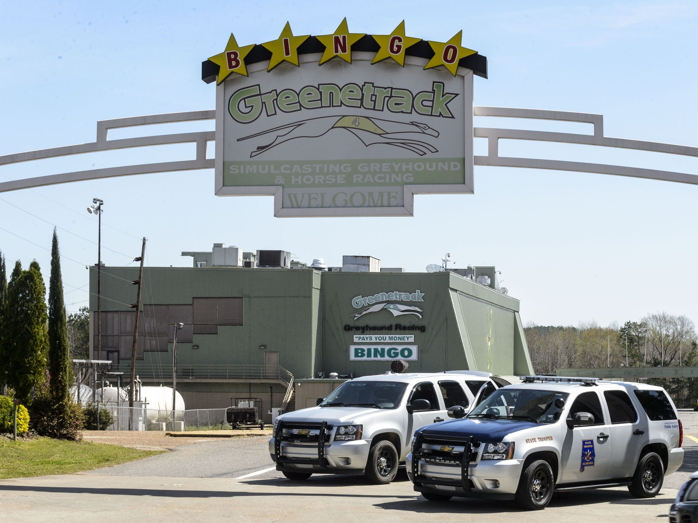 File photo shows Alabama state troopers guard the entrance