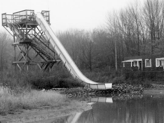 This large water slide and the dark buildings to the rear were on the Long Lake Park property when it was purchased by Al Moore in 1988.
