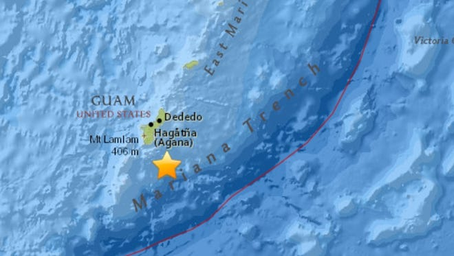 A magnitude 4.8 earthquake centered offshore Guam struck Tuesday, Aug. 29, 2017.