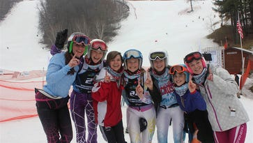 The girls alpine race team from Arrowhead won the state championship for the seventh straight year. Members of the team are (from left) Maddie Cummings, Addie Siepmann, Justine Bader, Maggie Siepmann, Eily Brumder, Natalie Sorenson and Brittany Curry.