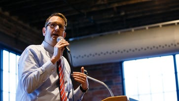 Candidate for Iowa Governor Todd Prichard speaks during a democratic forum for upcoming election candidates at Noce Jazz club on Thursday, March 23, 2017, in Des Moines.