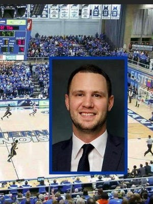 Luke Norman, whose head shot is transposed over an action shot at Eastern Illinois University, where he used to play and has worked the last three years, has been named the new men's basketball head coach at Highland Community College. Norman also played at Highland and his dad, Pete Norman, coached Highland for 15 years.