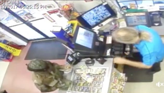 Palm Bay police are search for a man shown on surveillance footage robbing a convenience store.