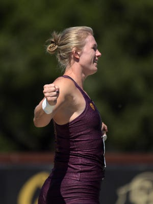 Arizona State senior Maggie Ewen celebrates after repeating as Pac-12 women's shot put champion. She will compete in shot put and discus this week at the NCAA Outdoor Championships.