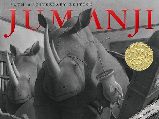 "The book cover of Chris Van Allsburg's ""Jumanji."""