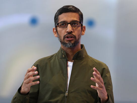 Google CEO Sundar Pichai delivers the keynote address at the Google I/O 2018 Conference at Shoreline Amphitheater on May 8, 2018, in Mountain View, Calif.