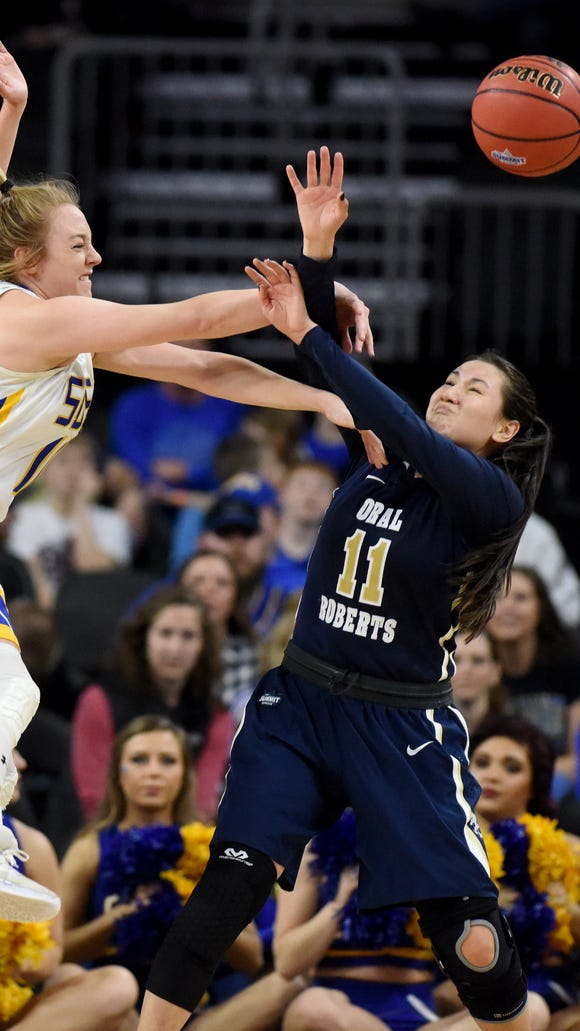 SDSU's Madison Guebert and ORU's Lakota Beatty both had all-conference seasons this year.