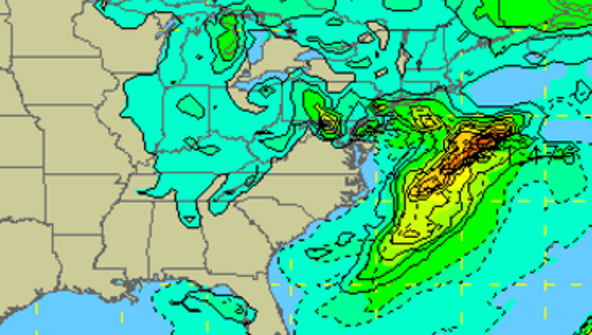 The GFS weather model shows a storm storm in the northeast