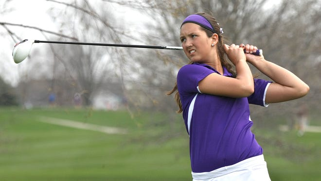 Waukee's Jasmine Wyzgowski, shown here in the Johnston Invitational last season, shot an 83 in the first round of the Class 5-A state girls' golf meet.