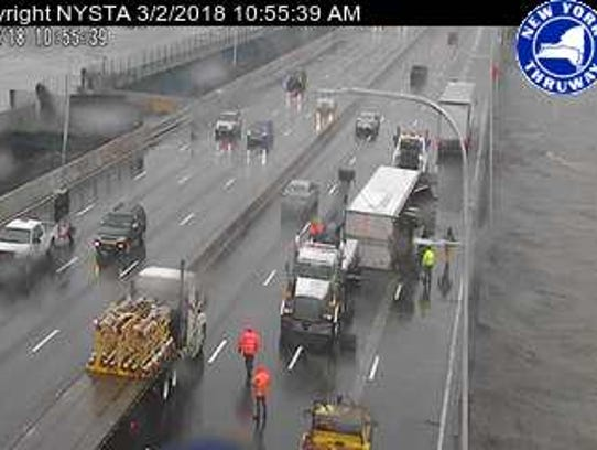 A tractor trailer has rolled over on the Gov. Mario