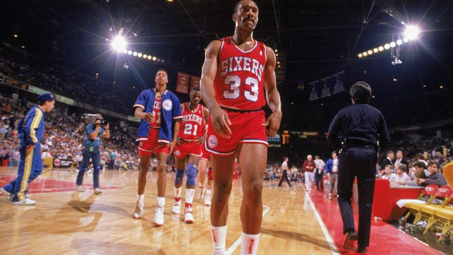 Hersey Hawkins of the Philadelphia 76ers walks off the court during the 1988-1989 NBA season. The former Bradley player remembered fondly his time on the Hilltop with Stan Albeck as coach.
