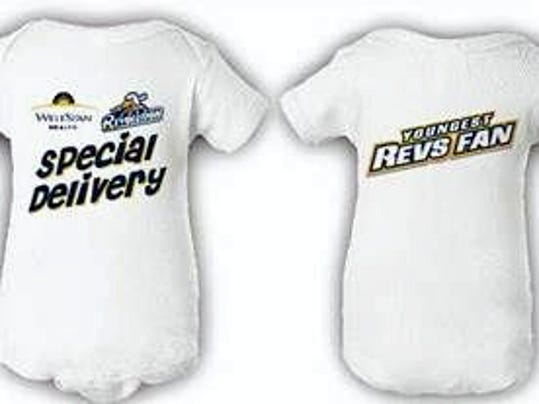 Every baby born in York Hospital from Friday through Sunday will receive a free onesie, pictured above, from the York Revolution.