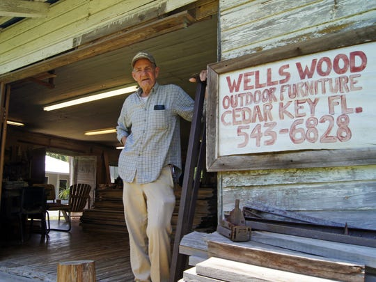 Herman Wells, 75, grew up in Cedar Key after laboring 35 years as a commercial fisherman, building boats, and later creating a woodworking business where he runs his own shop. Wells creates hand-made artisan Adirondack chairs, porch swings and folding tables using various woods of cypress, cherry, oak and pine. His shop is located in what was once an old church on 709 5th Street. You'll find Herman Wells working there daily.