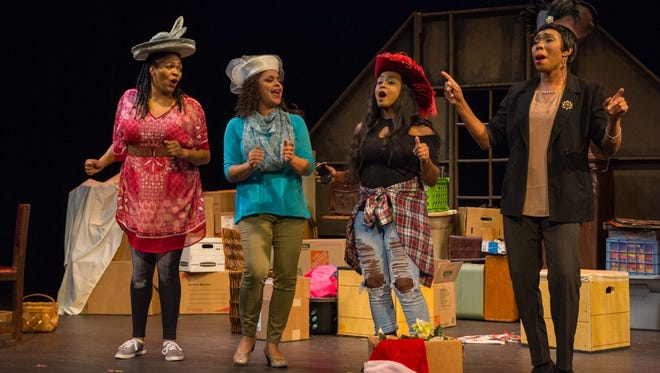 """Jennifer Whitcomb-Oliva, left, as Roberta, Lisa Graham as Gloria, Sarina-Joi Crowe as Tamika and Aleta Myles as Simone in Tennessee Women's Theater Project's production of """"Sistas: The Musical."""""""