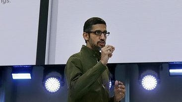 Google CEO Sundar Pichai speaks about YouTube break reminders at the Google I/O conference in Mountain View, Calif., Tuesday, May 8, 2018.